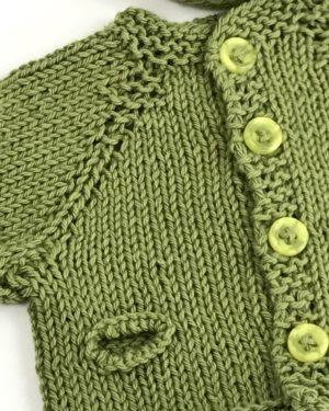 Præmatur Cardigan Hue Sæt Grøn økologisk Bomuld Håndstrikket 6